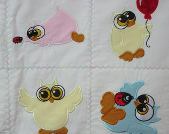 "Machine Embroidered Baby Quilt, Baby Owls, Crib Quilt, Baby Quilt, Handmade Baby Quilt - approx 38"" x 46"" - Owls"