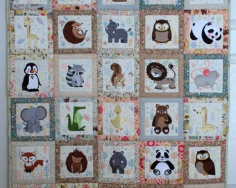"Machine Embroidered Baby Quilt, Baby Quilt, Animal Adventures Quilt, Crib Quilt, Handmade Baby Quilt - Fill - approx 38"" x 45"""