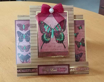 3D Centre Stepper Butterflies Birthday Card - luxury quality bespoke UK Mum/Daughter/Sister/Niece/Grandma