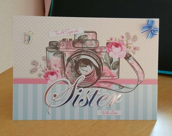 Sister Birthday Card - luxury quality bespoke UK handmade