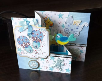 3D Pop Up Z-Fold New Baby Boy Card - luxury personalised quality bespoke UK Mum/Daughter/Aunt/Niece/Grandma/Sister