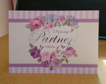 Partner Birthday Card - luxury quality bespoke UK handmade