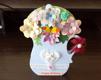 Female Birthday Card - Blue Jug/Vase of Flowers - luxury quality special bespoke UK - Mum/Daughter/Aunt/Sister/Niece/Wife