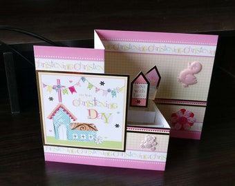 3D Pop Up Z-Fold Christening Card - luxury quality bespoke UK Mum/Daughter/Aunt/Niece/Grandma/Sister