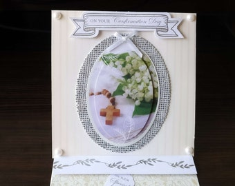 Confirmation Card - 3D Easel Style -  luxury unique quality special custom UK - Male/Female