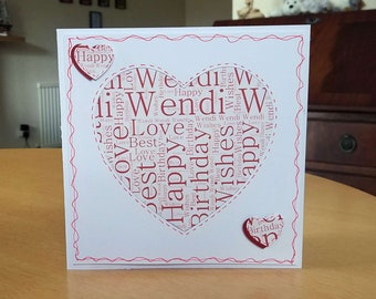 Male/Female Birthday Name Heart Card Word Cloud - luxury personalised unique quality bespoke UK - dad/mum/son/daughter/brother/sister