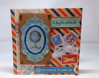 Male Birthday Card - Travel/Map/Globe/Stamps  - luxury unique quality special bespoke UK - Dad/Son/Uncle/Brother/Nephew