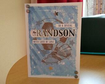 Grandson Birthday Card - luxury personalised quality bespoke UK handmade