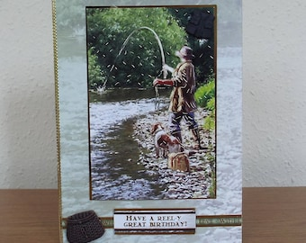 Male Birthday Card - Fishing/Fish  - luxury unique quality special bespoke UK - Dad/Son/Uncle/Brother/Nephew