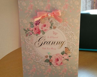 Granny Birthday Card - luxury quality bespoke UK handmade