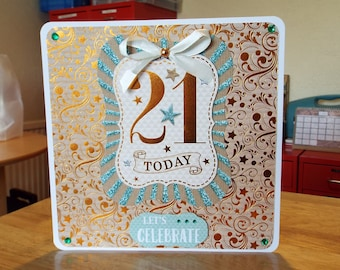 Male/Female 21st Birthday Handmade Card - luxury unique quality bespoke UK - Son/Daughter/Brother/Sister/Grandson/Granddaughter