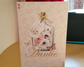 Auntie Birthday Card - luxury quality bespoke UK handmade