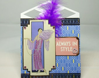 Female Art Deco Easel Birthday Card - luxury unique custom UK - Mum/Grandma/Daughter/Aunt/Niece/Sister