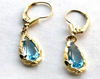 14k vintage swiss blue topaz dangling earring.