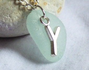 CLEARANCE - Initial Y Seaglass Pendant, Y Jewelry, Y Jewellery, Initial Y Sea Glass Necklace, Letter Pendant, Letter Y Necklace -PC17025