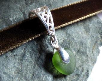 Sea Glass Choker, Sea Glass Pendant, Sea Glass Jewellery, Green Sea Glass, Green Seaglass Jewelry, Green Choker, Glass Pendant - KD17015