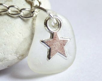 CLEARANCE - Sea Glass Pendant, Star Necklace, Sea Glass Jewelry, Starry Charm, Silver Plated, Seaglass Jewellery, Beach Star - PC17065