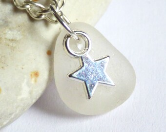 CLEARANCE - Sea Glass Pendant, Star Necklace, Sea Glass Jewelry, Starry Charm, Silver Plated, Seaglass Jewellery, Beach Star - P170034
