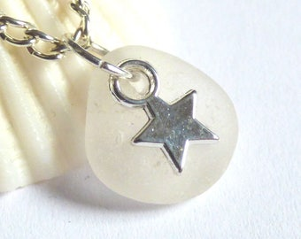 CLEARANCE - Sea Glass Pendant, Star Necklace, Sea Glass Jewelry, Starry Charm, Silver Plated, Seaglass Jewellery, Beach Star - P170019