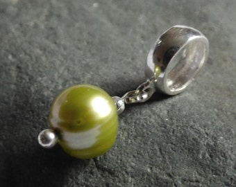 Freshwater Pearl Charm, Green Pearl Charm, Sterling Silver, Coloured Pearls, Gift for Her, Wife Gift, Girlfriend Gift, Charm Bead - CD17022