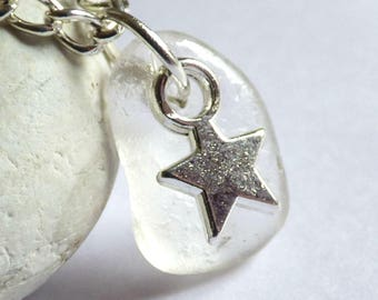 CLEARANCE - Sea Glass Pendant, Star Necklace, Sea Glass Jewelry, Starry Charm, Silver Plated, Seaglass Jewellery, Beach Star - PC17073