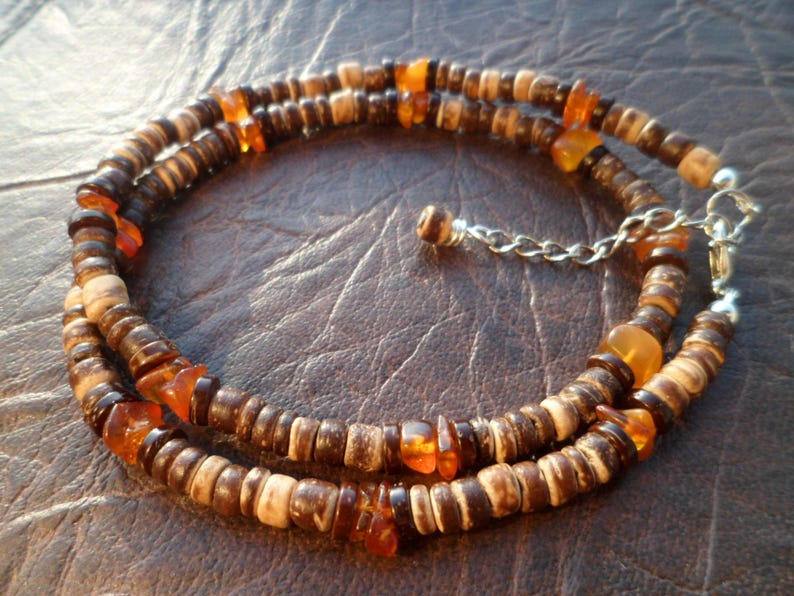 Gift for Men Mens Unisex  Beaded Necklace Ethnic Necklace Necklace for Men Natural Coconut Shell Beads and Baltic Amber