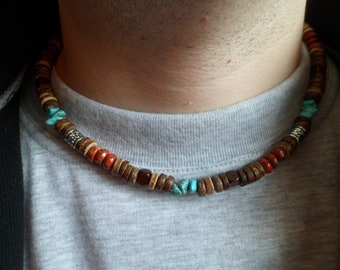 Natural Stones Turquoise, Red Jasper and Coconut Shell Beads Mens  Necklace, Ethnic Necklace, Mens  Gemstone  Beaded Necklace, Gift for Men