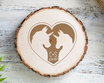 Wooden Tree Slice with Engraving - Unicorn Motif - Personalised with Initials and Date of Your Choice - Gift for Couples - Romantic Gift