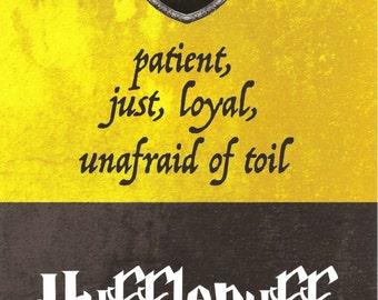 5x7 Art Print Hufflepuff Harry Potter Hogwarts House Motto Traits Patient Just Loyal Unafraid of Toil Badger Yellow Black