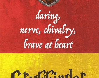 5x7 Art Print Gryffindor Harry Potter Hogwarts House Motto Traits Chivalry Daring Nerve Brave at Heart Red Gold Lion