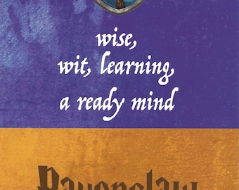 5x7 Art Print Ravenclaw Harry Potter Hogwarts House Motto Traits Wise Wit Learning Ready Mind Blue Bronze Eagle