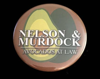 "2.25"" Button Pin Daredevil Nelson Murdock Avocados At Law Marvel Netflix TV Show"