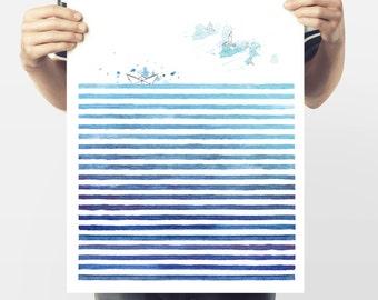 Watercolor Sea Abstract sea landscape modern minimalist-fine art print-blue lines-abstract watercolor