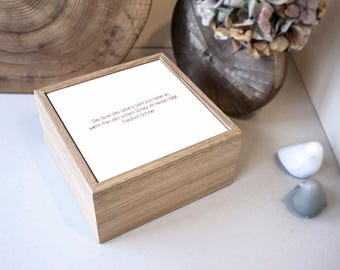 Oak jewelry box Schiller | With engraved Corian lid and gold lacquer