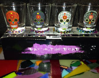 4 Sugar Skull Shot Glasses
