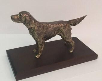 Metal spaniel retriever dog statue