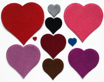 Felt Hearts, 10 Sizes Heart Die Cut Shapes for Sewing, Bunting and Other Crafts, Beautiful Colours Available