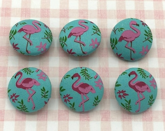Pink Flamingo Buttons, Craft Buttons, Size 29mm, Set of 6