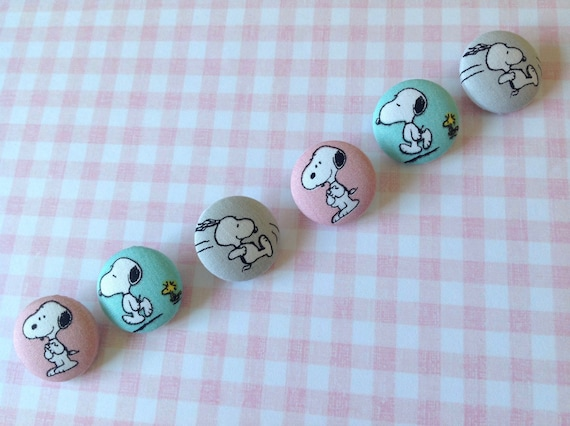 Blue 4 Handmade Fabric Covered Buttons 20mm Owls