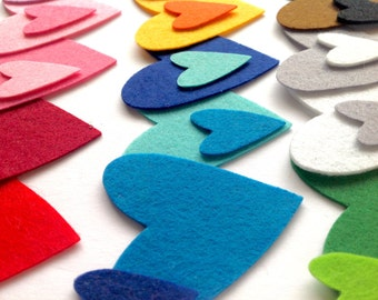 Heart Die Cuts, Felt Hearts, Heart Shapes for Applique, Sewing and Craft Projects, Different Sizes and Vibrant Colors