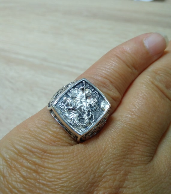 Silver 925 Orthodox Ring Chevaliere  Save and Protect.