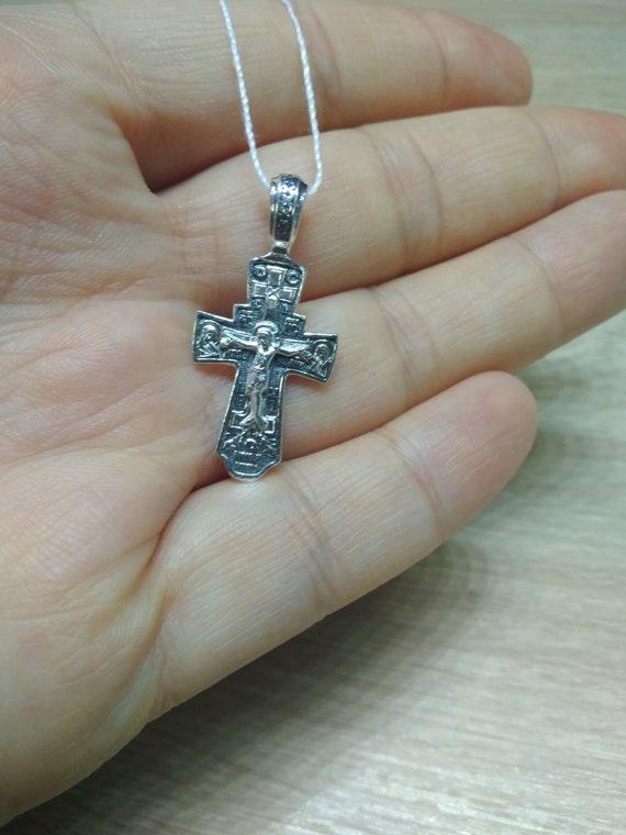Orthodox Necklace. Orthodox Silver 925 Cross Crucifixion Pendant Jesus Christ Reliquary Amulet Protective Pendant Gift Religious