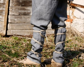 Medieval  Viking inspired nomad men\u2019s trousers  pants with elastic waistband and linen wraps size M
