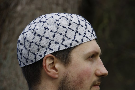 Ethnic motif mixed fabric pillbox kufikuchi hat