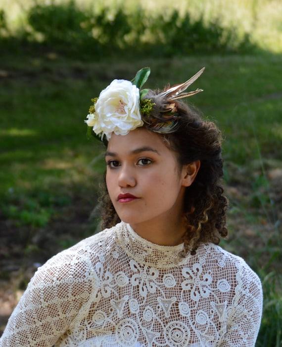 boho bridal headpiece whimsical wedding crown feather headpiece pheasant wedding hairband golden hair accessory
