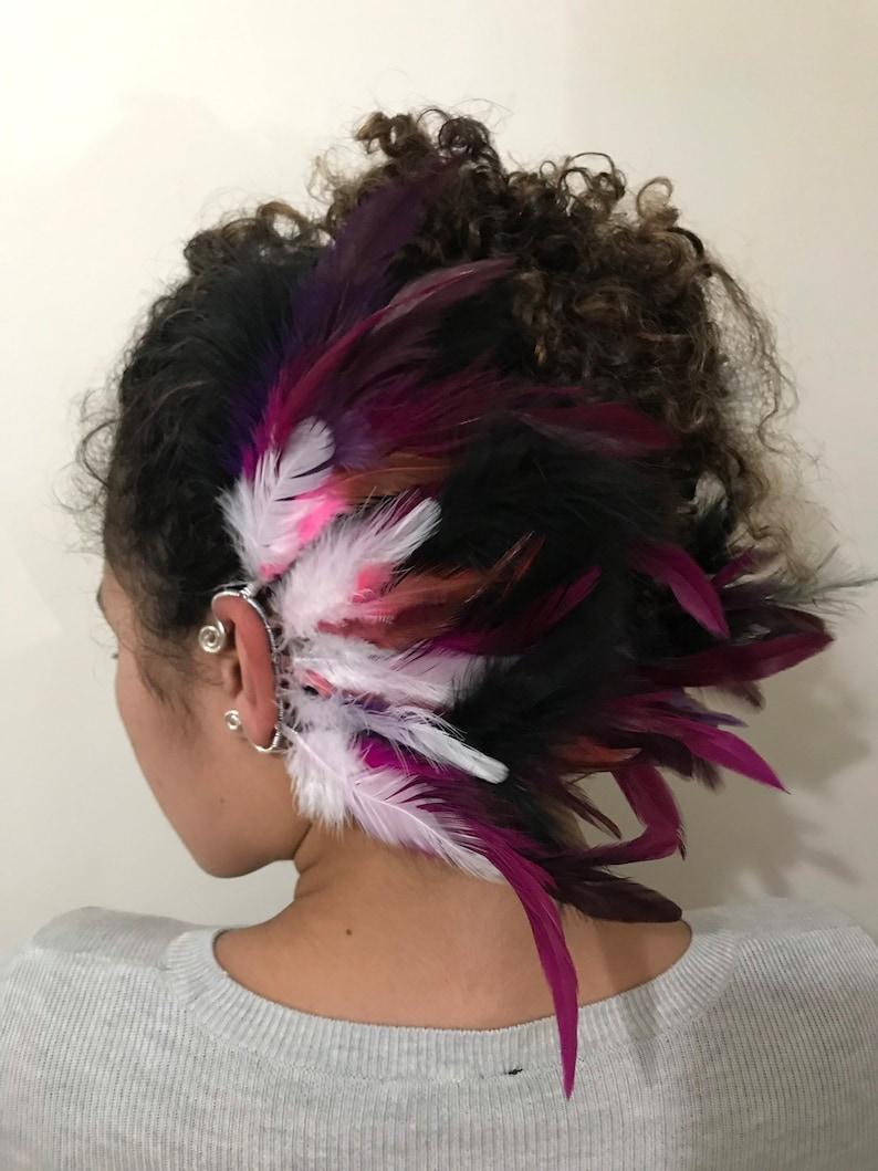 Purple Dragon Headdress Fascinator Burning Man Festival  Tribal  Warrior Queen EarWings Pink  White Feather Earcuffs  cuffs  wraps