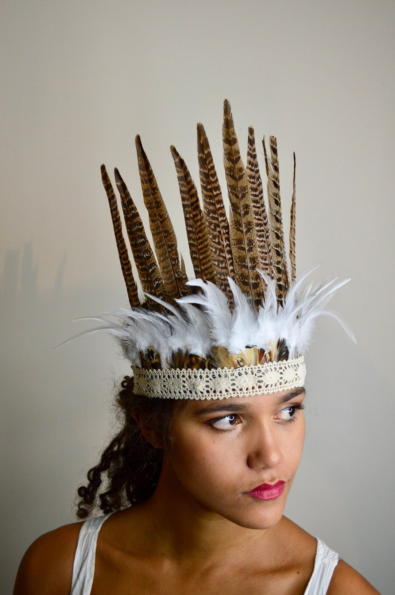 Pheasant Feather Warrior Headdress   Crown. Tribal Feather Headwear ... b4152b3a0bd