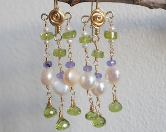 Ancient style pearl and peridot earrings, unique earrings, etruscan style, roman style, byzantine style, museum replica