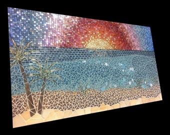 SET, waves at sunset, handmade mosaic