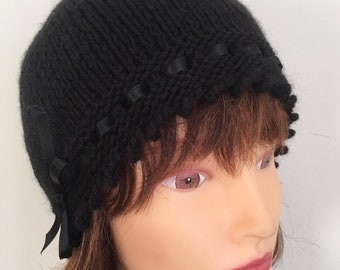 4c06d54d Black Knitted Hat, 1920s Style Black Beanie, Laced Ribbon Hat, Ladies Gift  Hat, Gatsby Hat, Wool Hats, Stylish Winter Wool Hat Gifts